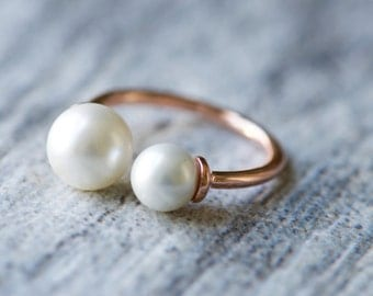 Rose Gold Plated Adjustable Pearl Ring, Round Pearl Cuff Ring, Dainty Ring, Minimalist Ring, Gift for Her
