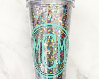 22 oz. Acrylic - Double-Wall - BPA Free - Monogram Confetti Glitter Tumbler with Hot/Cold Lid - Personalized Cup - Personalized Tumbler