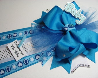 Mommy to Be Baby Boy Shower Corsage / Little Cowboy Baby Shower Corsage / King Blue Baby Shower Corsage / Shower Corsage /