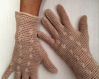 Womens handmade crochet knitted gloves glamour look excellent gift