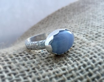 Blue Lace Agate Sterling Silver Ring, Sterling Silver Ring, Blue Lace Agate,  Semiprecious Stone Ring, Women's Ring, Handmade Ring, Silver