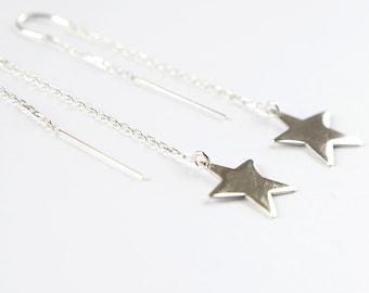 Star dangle earrings, 6.5 cm drop, Sterling silver, Unique earrings, Party earrings
