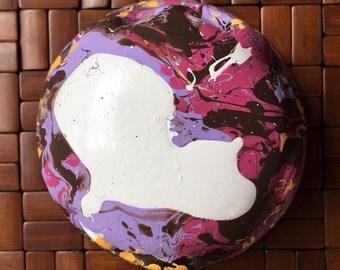 Pour painted ceramic bowl