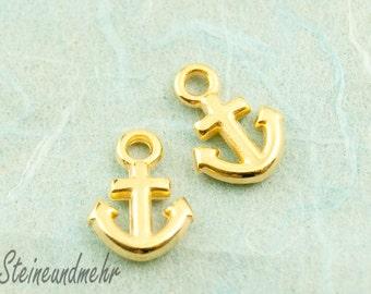 5 pcs. anchor gold pl. charm 12mm #3099