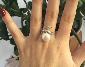 White Pearl Ring, Emerald Ring, Natural Emerald, Vintage Rings, Natural Pearl, June Birthstone Ring, May Birthstone Ring, Solid Silver Ring