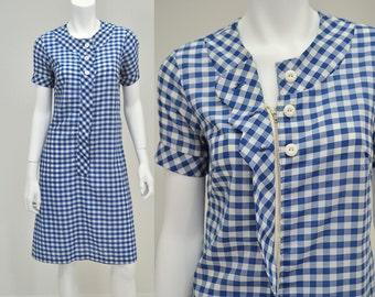 Vintage 1960's Women's M Blue & White Gingham Plaid Check Casual Shift Dress House Dress