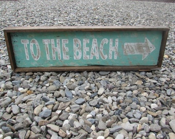 """Framed """"To The Beach"""" sign"""