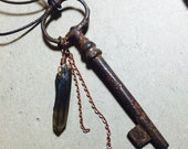 RESERVED: Onelifeonedeath - Antique key and Smoky Quartz necklace