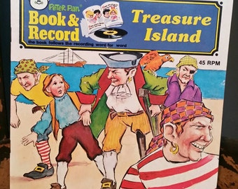Treasure Island Peter Pan Records 45 RPM Vinyl Record and Book Set/Childs Read Along Book/Classic Literature/Collectible Vinyl/Vintage 1980s