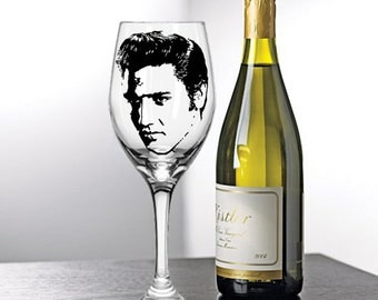 Elvis Presley,  Painted Wine Glasses, Painted Wine Glass, Hand Painted Wine Glasses, Painted Glasses, White Wine, Red Wine, Stemless Glasses