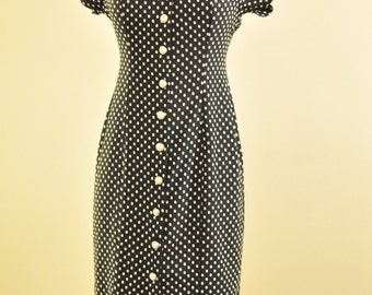Vintage Black and White Polka Dot Midi Dress