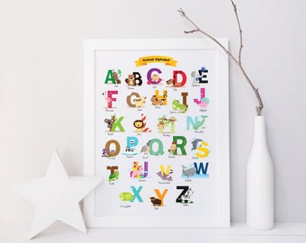 Nursery Alphabet, Baby Shower Gift, ABCs, Baby Gift, Kids Wall Art, Animal Alphabet, Nursery Print, Nursery Decor, Baby Room Decor, Elephant