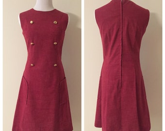 Vintage 1970s School Girl Shift Dress / Patchwork Lining