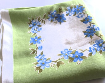 Vintage Dunmoy Blue Flowers & Green Irish Square Tablecloth - 60s Floral Roses Table Cloth - Mid Century Spring - Made in Ireland