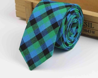 Mens Cotton Skinny Tie 2.4 Inches