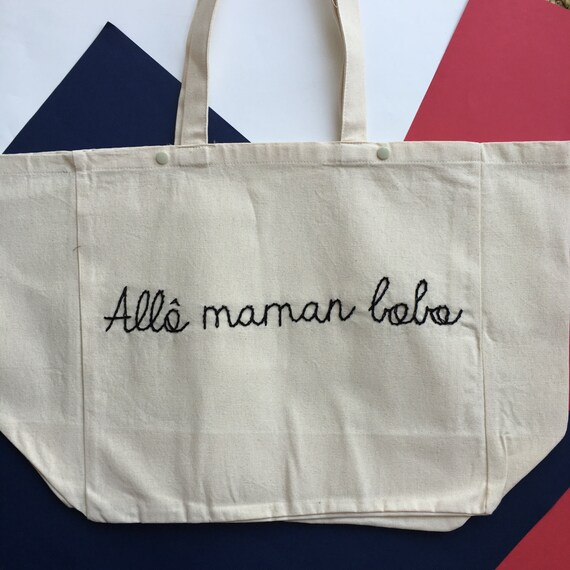 Tote Allô maman bobo / / hand embroidery / / MOM gift idea / / mother's day / / gift mum birthday / / cotton tote / / beach bag