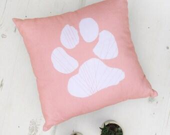 Dog pillow, Pink dog pillow with dog paw print. Dog lover gift,Dog home decor, Dog pillow cover, Throw pilloe, animal cushion, Dog decor
