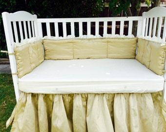 Elegant dupioni silk 5pc baby bedding