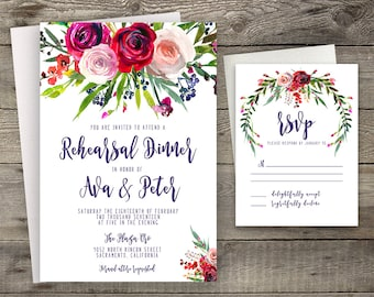 Pink Red Rose Peony Floral Rehearsal Dinner Invitation Printable Boho Chic Invitation Bohemian Invite Modern Typography Fall / Winter Party