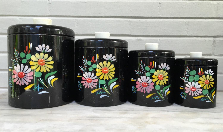Vintage Ransburg Canister Set Set Of 4 Black With