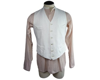 Late Victorian to Early Edwardian White Plain Front Waistcoat Fancy Weave Cotton Brocade