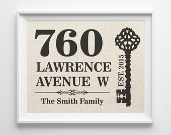 House Warming Gift | New Home Housewarming Gift | Cotton Print | Personalized Address Sign | New House Gift | New Homeowner | House Numbers