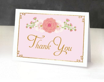 Princess Baby Shower Thank You Cards, Folded, Pink and Gold, Birthday Party, Girl, Crown, Our Little Princess is on the Way, Pink and Gold