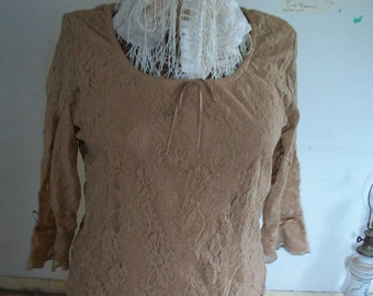 Womens Notations Clothing Co. Large  Biege/Tan Lace Top