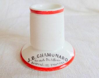 Vintage French Pyrogene Match Striker Red White Chamonard Holder Ceramic Barware Advertising Tobacciana