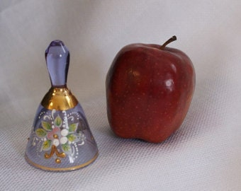 Painted Glass Bell,  Collectible Bell, Tea Bell, Floral Bell, Floral  Design