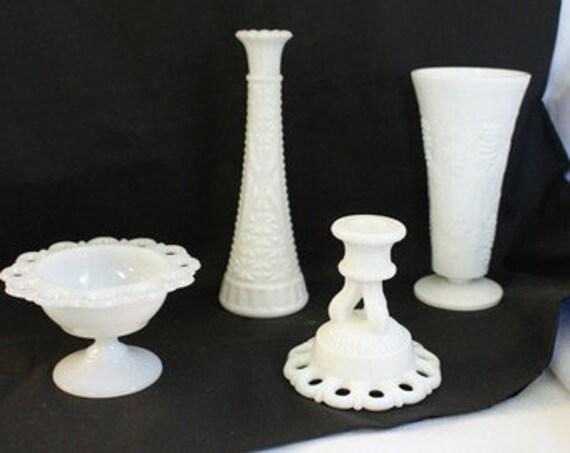 White Milk Glass Centerpiece Vase Candle Stick White