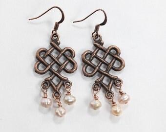 Pink and Copper Earrings, Fresh Water Pearl Earrings