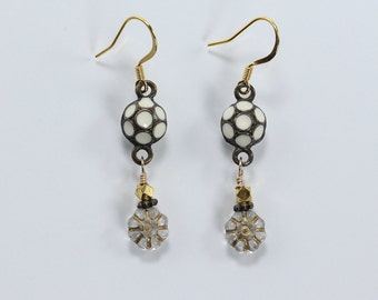 Zinc with White Enamel & Glass Earrings, Gold, White and Brown Earrings