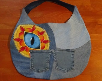 UniCat Bag - Cat Purse, Hand painted recycled denim