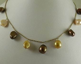 "Freshwater Multi-Color Nugget Pearl Necklace with 14K Yellow Gold,16"" Long"