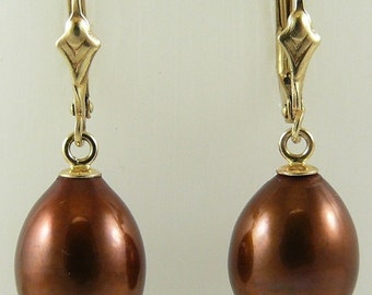 Freshwater 12.6mm x 10mm Chocolate Pearl Earring 14k Yellow Gold