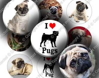 "Digital Bottle Cap Collage Sheet - Love Pugs (965) - 1"" Digital Bottle Cap Images"