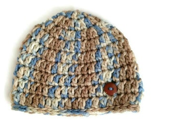 Crochet Baby Boy Hat in Blue and Brown, Crochet Baby Hat, Newborn Hat, Infant Boy Hat, Blue and Brown Hat, Baby Boy Winter Hat