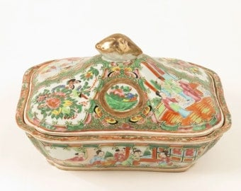 Antique 19th c Chinese famille mandarin rose medallion covered serving dish lid
