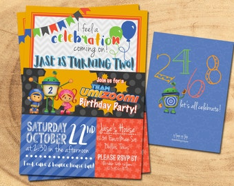 TEAM UMIZOOMI BIRTHDAY Invitations | Milli, Geo, Bot | Umizoomi Birthday Party