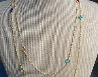 Fancy Cz. Necklace - Gold Plated