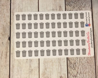 Trash Can/Trash Day Planner Stickers- Made to fit Vertical Layout