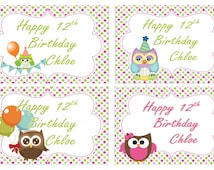 Cute Birthday Owls Personalised Edible Image Real Icing Cake Topper Large A4