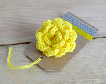 Bright yellow flower brooch. Yellow flower brooch. Yellow flower pin.