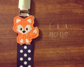 Orange Fox Pacifier Clip