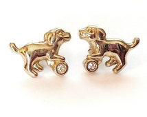 Avon Golden Dog with Rhinestone Ball Pierced Earrings Gold Tone Metal Sparkling Clear Rhinestones Dogs Puppy Pet Playing Fun Unique Vintage