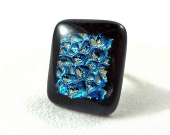 Exclusive adjustable fused glass ring  in blue turquoise iridescent colors on black background (RG18)