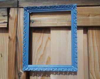 Painted Periwinkle Blue Filigree picture frame Vintage metal picutre frame upcycled frame