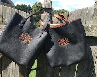 Monogram tote bag - custom initial handbag - personalized purse