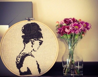 Audrey Hepburn cross stitch